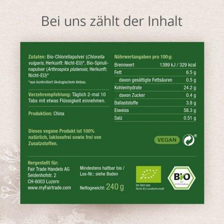 Chlorella & Spirulina Tabletten - Bio - 600 Stk. - 240g