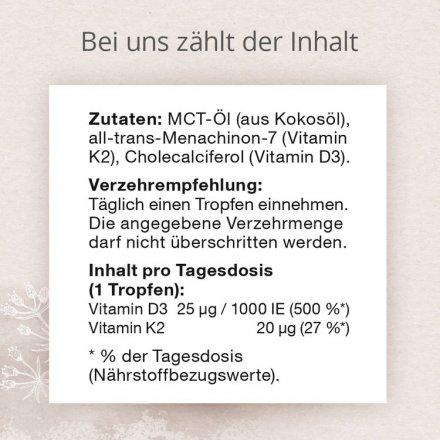 Vitamin-K2- und D3-Tropfen in Kokosöl