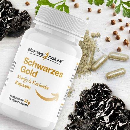 Schwarzes Gold - Mumijo und Koriander-Extrakt - 60 Kapseln