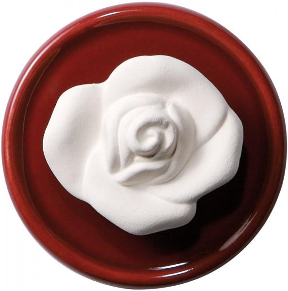 Duftstein Rose mit festem Untersetzer, ø7cm