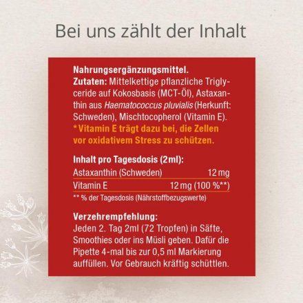 Astaxanthin 12 mg + Vitamin E Tropfen - 50 ml