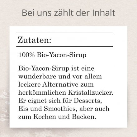Yacon Sirup - Bio - Flasche 250ml