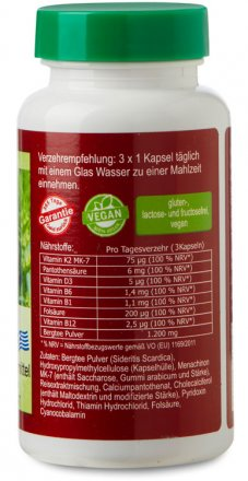 Griechisches Eisenkraut Vitamin D3 und K2 MK-7