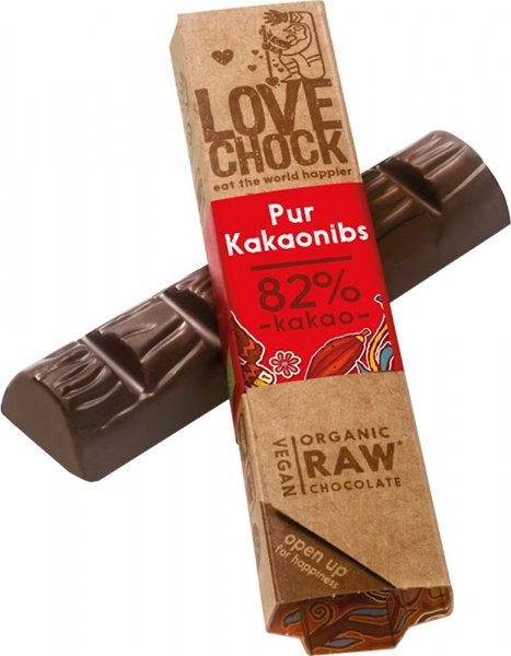 Lovechock Riegel Pur / Kakaosplitter - Bio - 40g