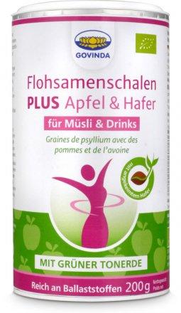 Flohsamenschalen PLUS - mit grüner Tonerde, Apfel und Hafer