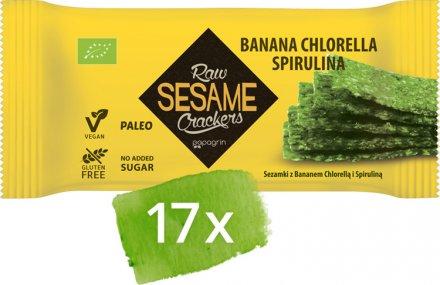 Sesam Cracker Banane-Chlorella-Spirulina - Bio - 17 Stück