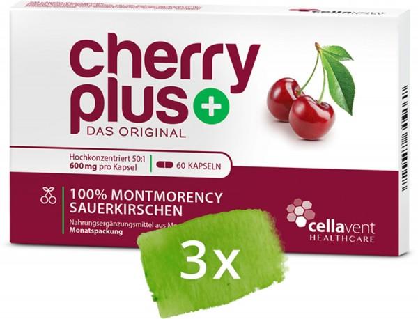 CherryPLUS - 3 Monatspackung Montmorency-Sauerkirschen-Kapseln - 3 x 60 Kapseln