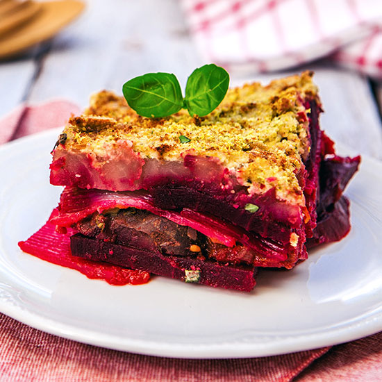 Konjak Lasagne mit Rote Bete