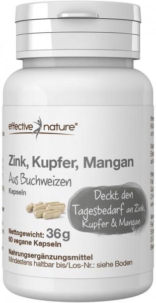 Buchweizenkeim Kapseln Zink, Kupfer, Mangan - 60 Stk. - 36g