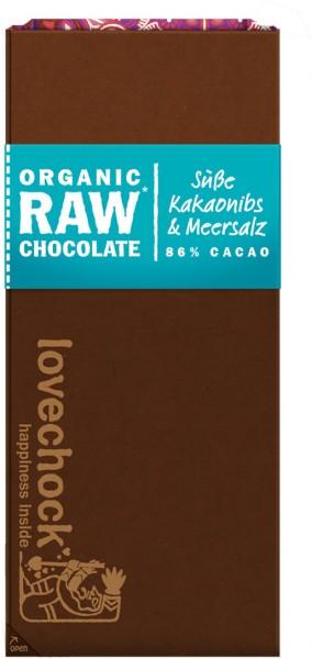 Lovechock Tafel Kakaonibs / Meersalz - Bio - 70g