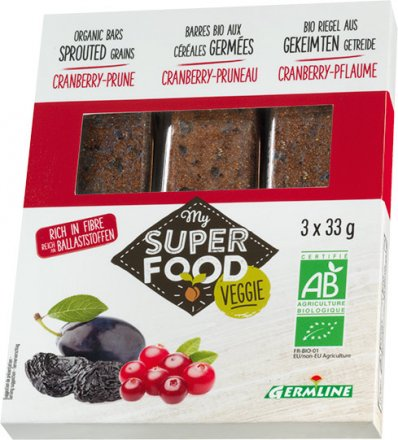 Gekeimte Müsliriegel - Cranberry und Pflaume - Bio - 3 x 33g