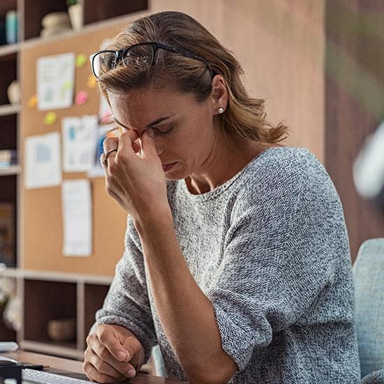 Mental gestresste Frau