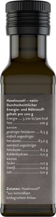 Haselnussöl nativ - Bio - 100ml