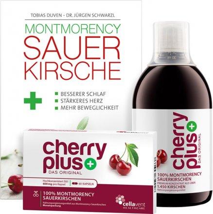 CherryPLUS Bundle - 1 x 473ml Konzentrat + 1 x 60 Kapseln + 1 x Buch