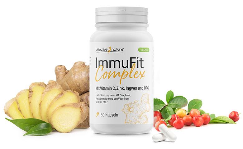 ImmuFit Komplex Dose mit verschiedenen Inhaltsstoffen abgebildet