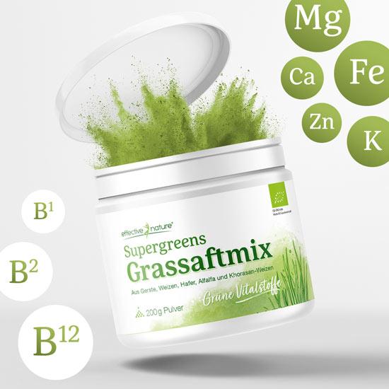 Nährstoffreicher Grassaftmix