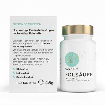 Hochdosierte Folsäure + Vitamin B12 - in praktischen Tabletten