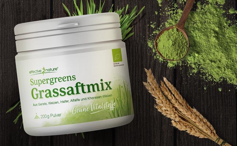 Supergreens Grassaftmix aus Gerste, Weizen, Hafer, Alfalfa und Khorasan-Weizen