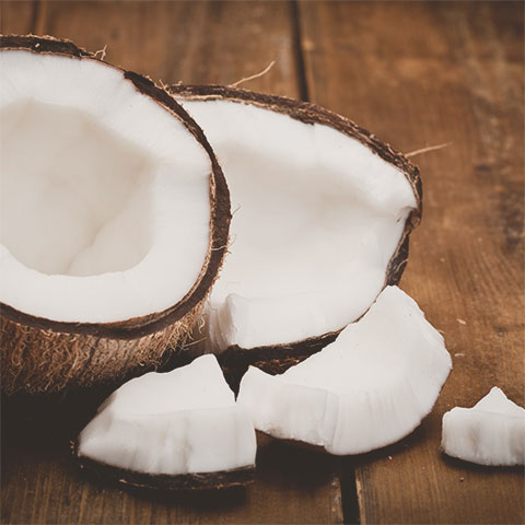 Open coconut with coconut pulp