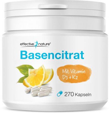 Basencitrat Kapseln mit Vitamin D3 + K2