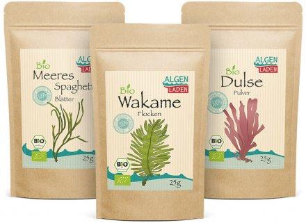 Probierpaket Dulse, Wakame, Meeresspaghetti - Bio - 3 x 25g