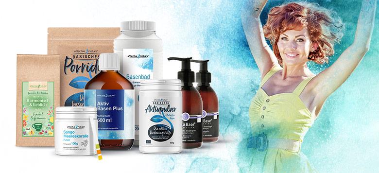 Basenkur Intense mit allen Produkten und tanzender Frau