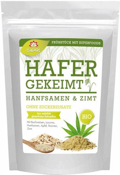 Basenüberschüssiges Frühstück - Gekeimter Hafer - Hanfsamen - Zimt - Bio - 360g