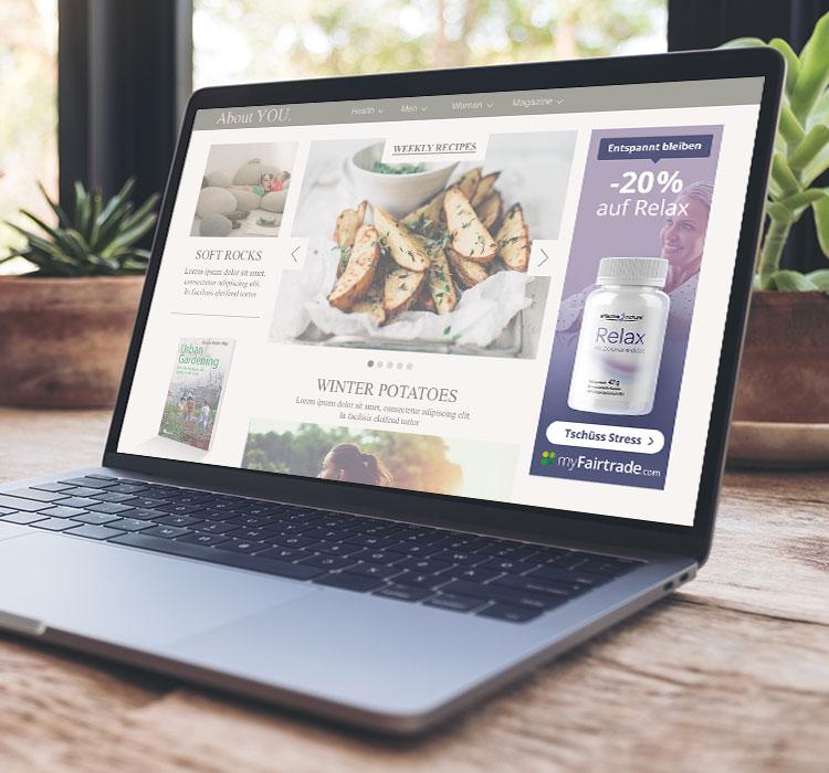 Website mit eingebauter Affiliate-Werbung von myFairtrade
