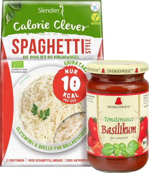 Konjak Spaghetti mit Tomatensauce + Basilikum