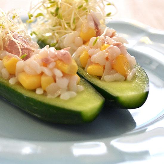 Konjak Reis auf Zucchini