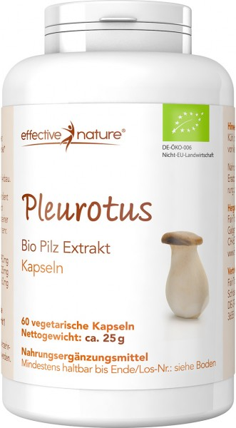 Pleurotus Pilz Extrakt Kapseln - Bio - 60 Stk. - 25g