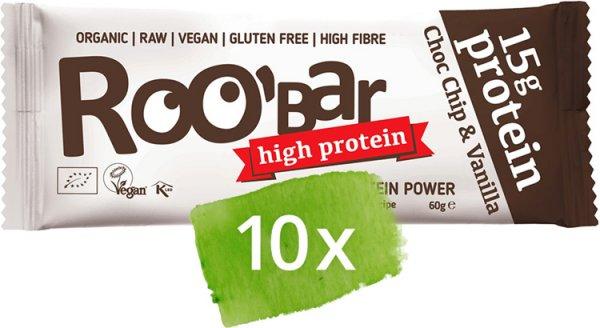 Roobar Choco chip - Vanille Protein Bar - Bio - 10 x 60g