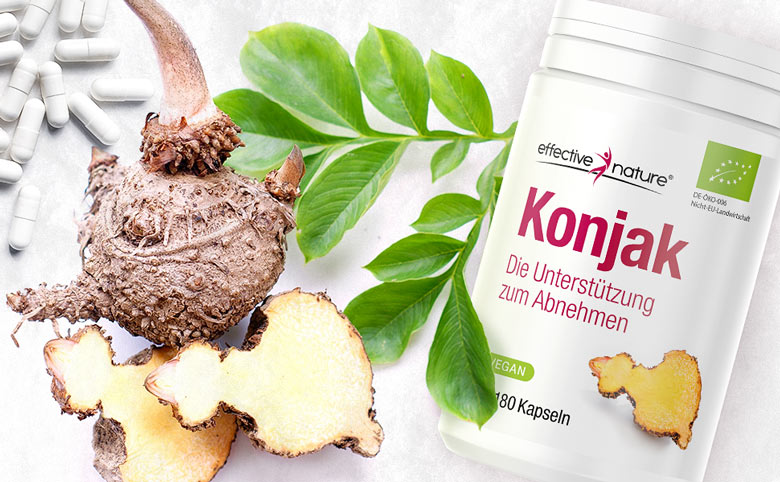 Product image with container and konjac root