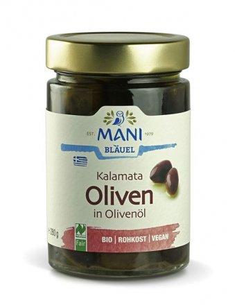 Kalamata Oliven in Olivenöl - Mani Blaeuel - Bio - 280g
