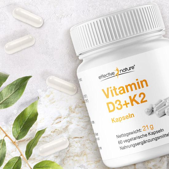 Vitami n D3+K2 Kapseln von effective nature