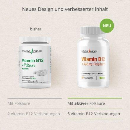 Vitamin B12 und Folsäure - 120 Kapseln