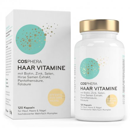 Highly dosed hair vitamin complex with biotin, zinc and selenium